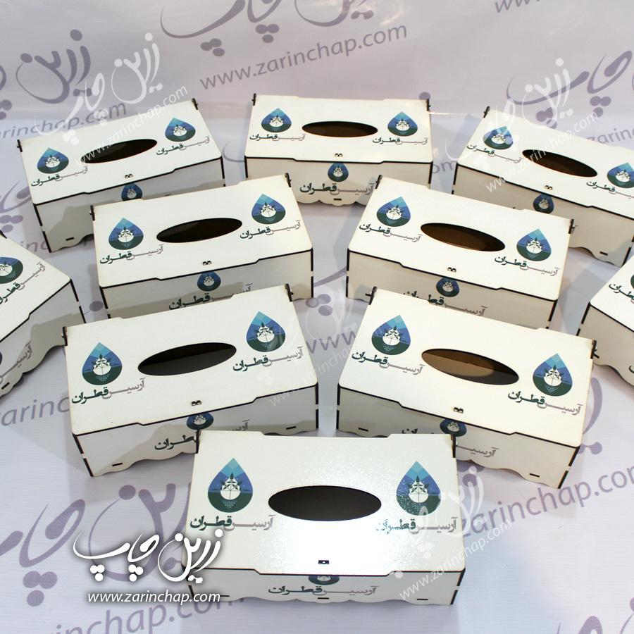 ساخت و چاپ اختصاصی محصولات ویژه، جعبه دستمال کاغذی MDF – زرین چاپ